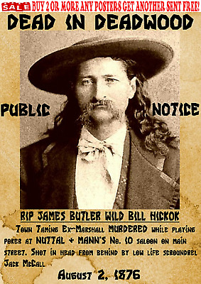 Old West Wanted Poster Wild Bill Hickok Reward Western Outlaw Deadwood