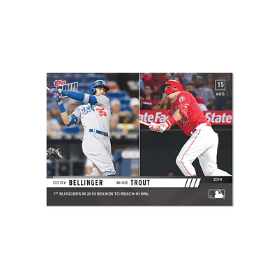 2019 TOPPS NOW # 687 CODY BELLINGER - MIKE TROUT 1st Sluggers To Reach 40 HR's