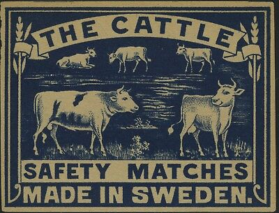 Sweden, The Cattle Safety Match label - Blue (9x7cm) MINT Unused