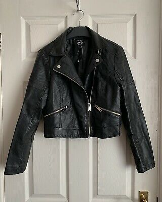 New Look 915 Generation Black Faux Leather Jacket Size 12-13 Years