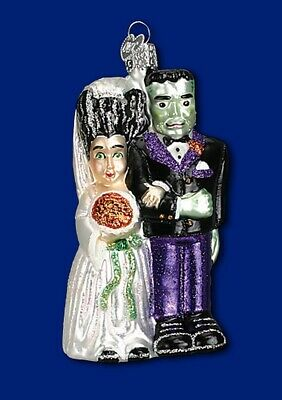 Old World Christmas HALLOWEEN FRANKENSTEIN & Bride Ornament Handblown GLASS OWC