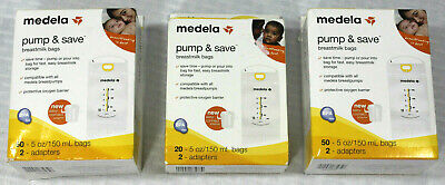 3 Boxes -Two 50 ct One 20 ct Medela Pump & Save Breast Milk 5 oz Bags & Adapters
