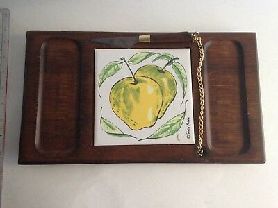 Fred Press Wood Ceramic Cheese Board Server Mid-Century w/attached Knife & Chain