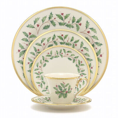 Lenox Holiday Gold Dimension Collection 5-Pc Place Setting Holly Christmas Mint!