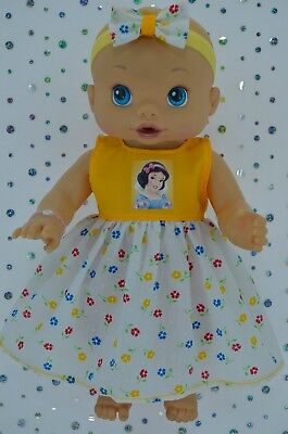 """Play n Wear Doll Clothes To Fit 13"""" Baby Alive YELLOW/FLORAL DRESS~HEADBAND"""
