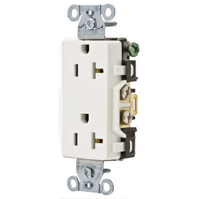 Hubbell Wiring Device-Kellems DR20WHI Deco Receptacle 20A 125V 5-20R White