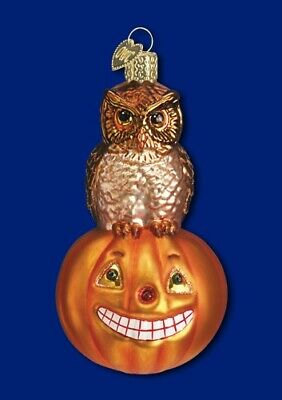 Old World Christmas HALLOWEEN OWL & PUMPKIN Ornament JOL Handblown GLASS OWC