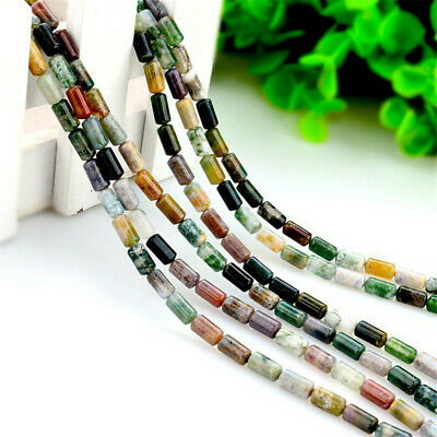 1pcs 4x8mm Indian Agate Cylindrical Loose Bead Healing Natural wholesale Spacer