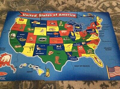 Usa Map Floor Puzzle Wipe Clean Surface Teaches Geography