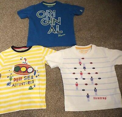 Boys Short Sleeved Clothes Tops T Shirts Age 5-6 Firetrap Penguin Genuine