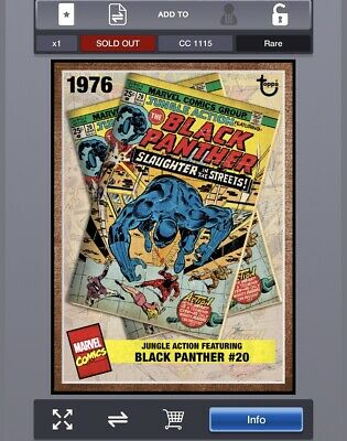 Topps Marvel Collect Digital Archive Week 3 Marvel Black Panther #20 (cc1115)