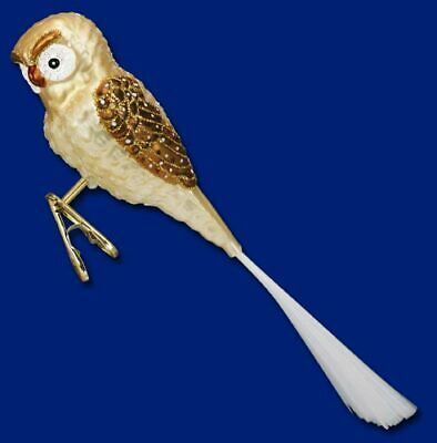 Old World Christmas HALLOWEEN Barn OWL Glass Ornament Handblown Clip Bird