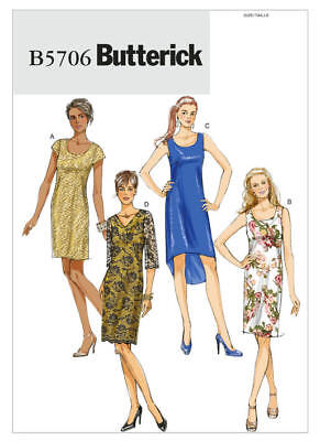 Butterick Sewing Pattern 5706 Misses 16-24 Petite Easy Dresses Sleeve Options