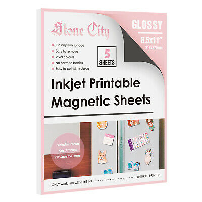 5 Printable Magnetic Sheets Glossy 8.5x11 Inkjet Printer Photo Paper Fridge DIY
