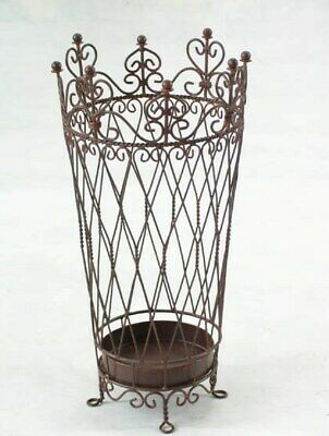 BEAUTIFUL FRENCH  antique brown UMBRELLA paper STAND WROUGHT IRON NEW