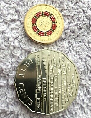 2019 colour $2 dollar 100 years of repatriation + 50 cent indigenous COINS - UNC