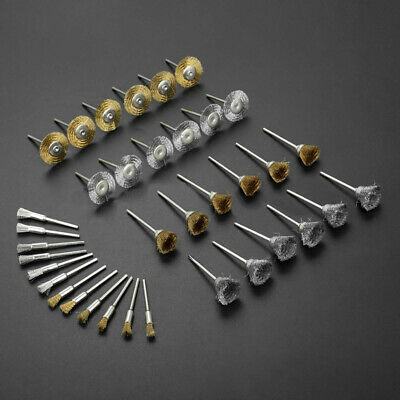 36Pcs Wire Wheel Brushes Steel Brass Polishing Buffing 2.35mm Portable