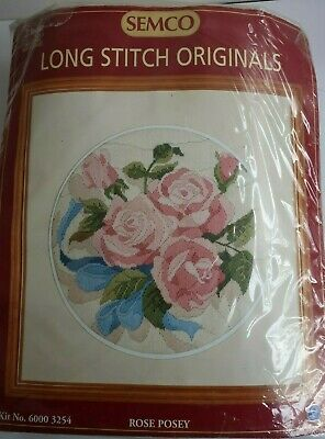 Semco LONG STITCH Tapestry KIT  ROSE POSEY preprinted canvas & wools STARTED