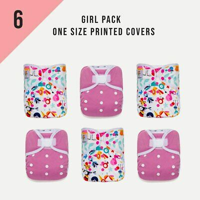KaWaii Happy Leak-Free One Size Diaper Cover (Pack of 6) For Baby Girl 8-36 lbs