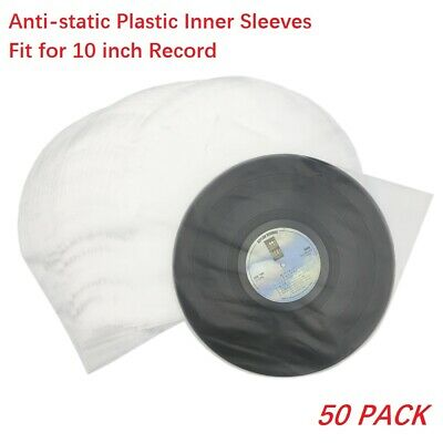 50 Clear Anti-static 3 Mil 10'' Record Vinyl Plastic Inner Sleeves