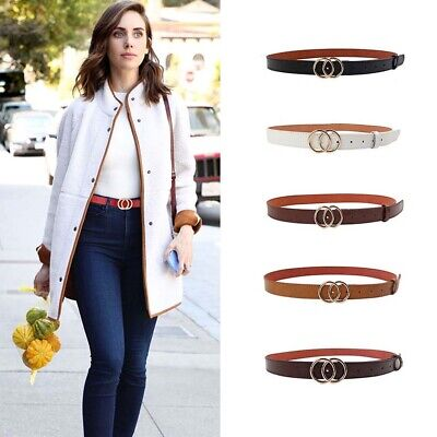 Women Faux Leather Belts Double Circle Pin Buckle Casual Leather Belt AU STOCK
