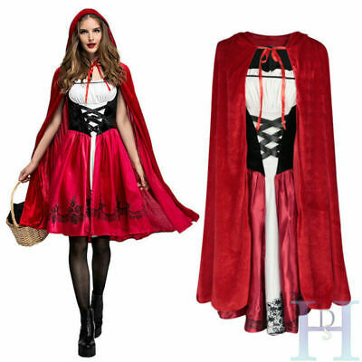 Christmas Adult Little Red Riding Hood Cape Party Fancy Dress Women Costume UK