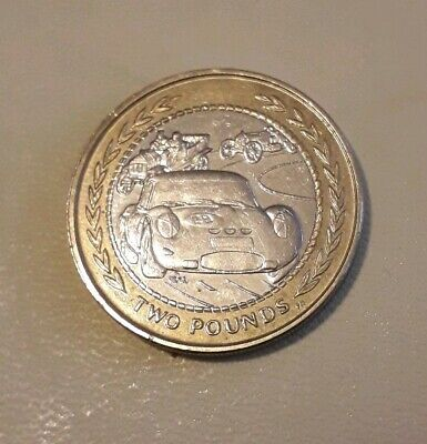 ISLE OF MAN 1998 'Three Racing Cars' £2 Coin - Two pound coin.