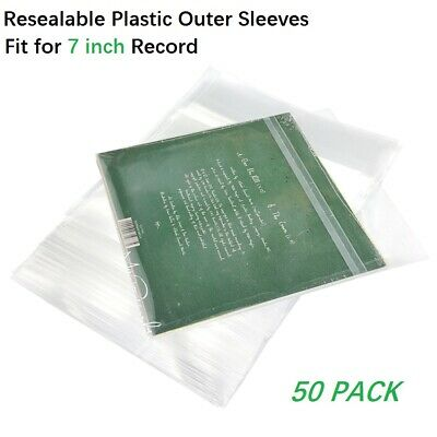 50 Resealable Plastic Vinyl Record Outer Sleeves For 7'' Cover 45 RPM