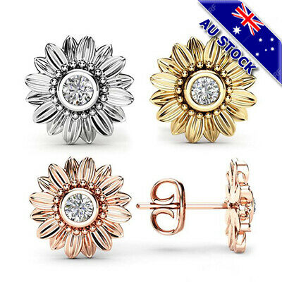 18K Gold/White Gold/Rose Gold Plated CZ Crystal Sunflower Stud Pin Earrings