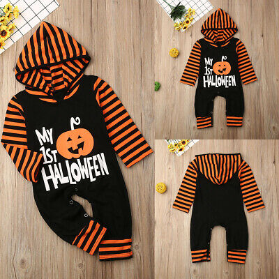 Toddler Baby Boy Girl My 1st Halloween Hooded Romper Bodysuit Jumpsuit Clothes