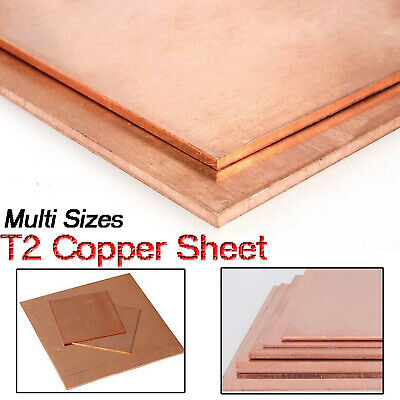 T2 Copper Sheet plate Conductive Metal panel Cut Tool 0.8/1/1.5/2/3/4/5mm thick