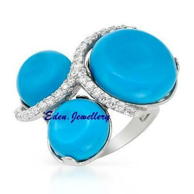 Stunning New Cocktail Ring Cr Turquoise Cubic Zirconia Sterling Silver Size 8