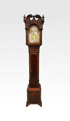 Edwardian Mahogany Chippendale Style Grandmother Clock
