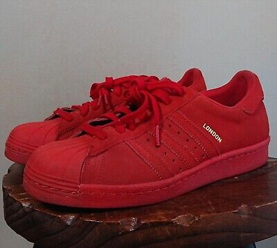 ADIDAS SUPERSTAR LONDON Red 80's City Series Athletic Shoes