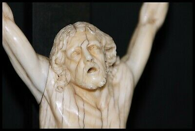 Antique French Dieppe Carved Corpus Jesus Christ 1800'S Top Piece