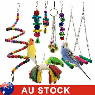 7Pcs Bird Parrot Swing Toy Hanging Bell Ladders Climbing Chewing Hanging Toy AU