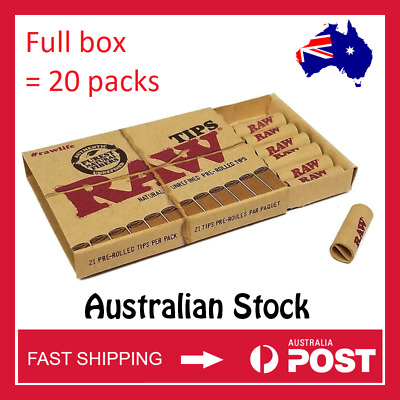 RAW Pre-Rolled Filter Tips Smoking Trays Full box bulk 20 packs - FAST SHIPPING