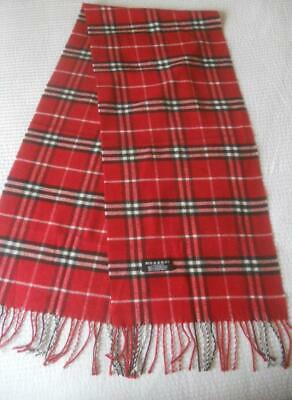 Authentic Burberry London Made England 100% Cashmere Scarf Red Black White Check