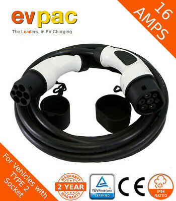Mini Compatible EV Charging Cable Type 2 (62196-2) 3Phase 16amp 5metres