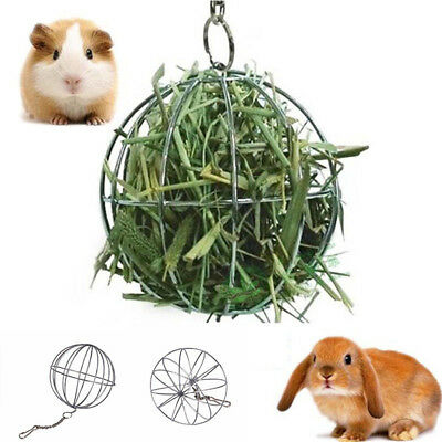 Stainless Steel Round Sphere Food Feed Dispenser Rabbit Pet Hanging Ball Toys F4