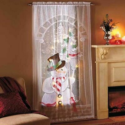 80x40cm Christmas Snowman Curtains Simple Vertical Living Room Bedroom Curtains