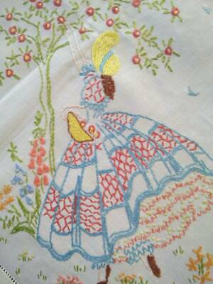 Stunning Crinoline Lady Picking Red Apples   Vintage Hand Embroidered Tablecloth