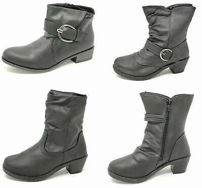 Womens Teens Girls Ankle Chelsea Zip Black Diamante Faux Leather Buckle Boots
