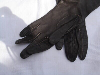 VINTAGE MORLEY Brown unlined Leather  Wrist length Gloves Size 7