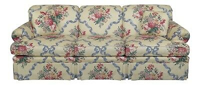 F47804EC: ETHAN ALLEN Yellow Floral Upholstered Sofa