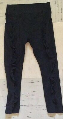 Next Girls Black Leggings With Scalloped Sides Size 7