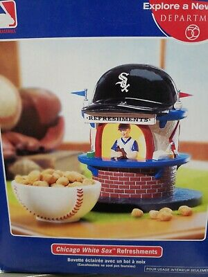 DEPT 56 CHICAGO WHITE SOX LIGHTED REFRESHMENT STAND W//BOWL//MINT IN MINT BOX