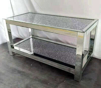 Mirrored Coffee Table Silver Mirror Sparkly Diamond Crush