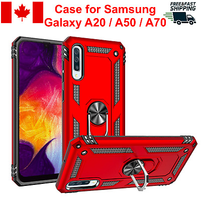 For Samsung Galaxy A20 A50 A70 Case Cover Ring Stand Kickstand Magnetic Rugged