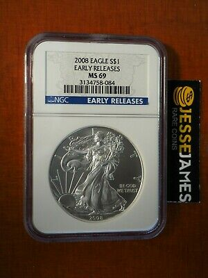 2008 $1 American Silver Eagle Ngc Ms69 Blue Early Releases Label